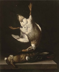 a dead duck suspended from a nail with a fly, above a duck on a stone ledge by jacobus van der hagen