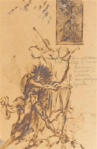 jacob et l'ange (study) by gustave moreau