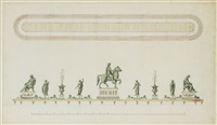 un surtout de table centré d'une statue de marc-aurèle by giuseppe valadier