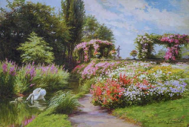 Cygnes et jardin fleuri by Jules Girardet on artnet