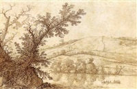 wooded river landscape with a rowing boat, and hills behind by cornelis hendriksz vroom