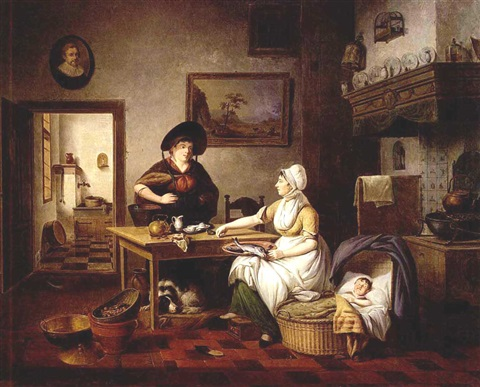 a kitchen interior with a mother holding a plate of fish a baby sleeping in a cradle and a woman holding a bucket of fish standing next to a table a view of the pantry beyond by pieter fonteyn