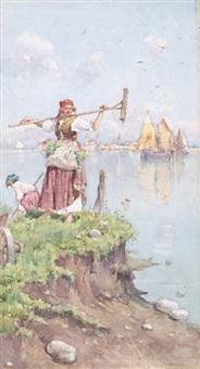 venezia, contadine in laguna by giuseppe vizzotto alberti
