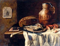 a herring on a wooden plate, a knife, a pipe and tobacco, a crab, bread and an earthenware jug on a partly-draped table by n. l. peschier