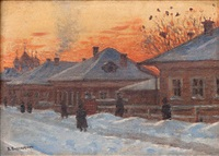 russian winter during twilight by vasili vasilievich vereshchagin