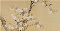 birds amonst cherry blossom branches by gyokushi atomi