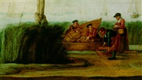 a river landscape with fishermen unloading their catch by arent (cabel) arentsz