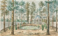 holländische parklandschaft mit pavillon, hühnern und wasservögeln an einem becken by jan arends