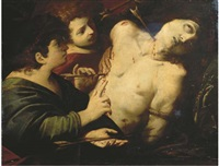 saint sebastian tended by saint irene by luigi amidano