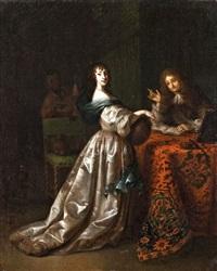 selyemruhás hölgy felolvasó úrral és szerecsen szolgával by constantyn netscher