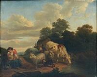 bergère et troupeau by franciscus xavery