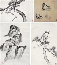 课徒画稿 (共七件) (7 works) by liu zijiu
