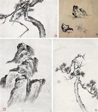课徒画稿 (共七件) (7 works) by liu zijiu