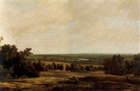 an extensive wooded river landscape with a traveller by joris van der haagen