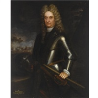 a portrait of rouvigny, earl of gallway, standing three-quarter length, wearing armour, a cavalry battle scene beyond by martin maingaud