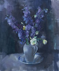 still life with delphiniums and roses by louis van heerden