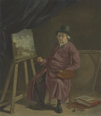 a portrait of the artist in his studio by hermanus van brussel