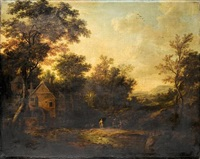 a wooded landscape with figures bathing in a river near a mill by george lambert