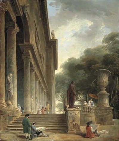 colonnade et jardins du palais médici gentlemen sketching in an italianate garden restes du palais du pape jules an architectural capriccio with haymakers pair by hubert robert