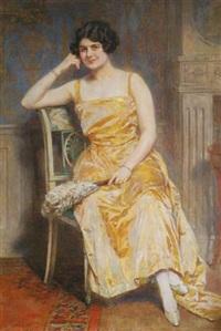 portrait de la comtesse de x, assise (+ portrait du comte de x en officier de marine; pair) by camillo melnick