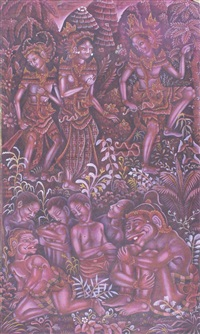 the scene from ramayana by ida bagus made nadera