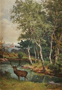 cerf et biche en sous-bois by charles ferdinand ceramano