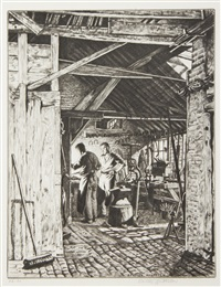 timmis smithy, thame; hurdle makers, the farm hand and hyden, the old shepard (4 works) by stanley anderson