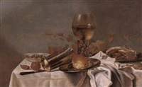 still life with roemer, silver beaker, meat pie and bread  roll by paul van den bosch