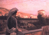 woman on a terrace with menton beyond by niels vinding dorph