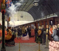 queen victoria travels by train by john leigh-pemberton
