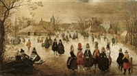 winter landscape with skaters on a frozen river by adam van breen