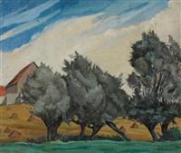 paysage aux grands arbres by andré lemaitre