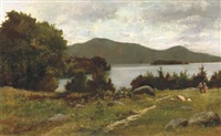 september morning on lake george across from west end of sagamore bridge to buck and pilot mountains, new york by charles linford