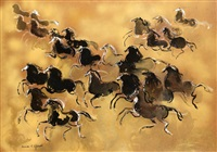 chevaux galopant by hassan el glaoui
