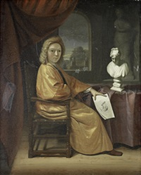 portrait of a collector, seated before a window by job adriaensz berckheyde