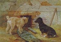 zwei hunde aud der lauer by leopold de cauwer