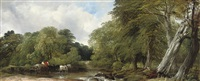 a woody river scene by frederick richard lee