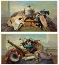 nature morte aux instruments de musique sur des entablements (2 works) by godefroy