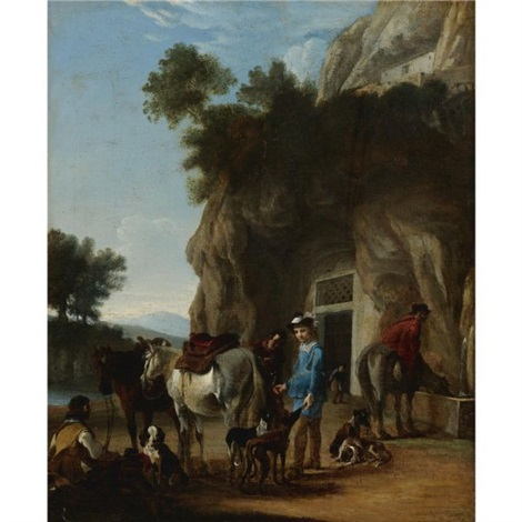 huntsmen with dogs and horses in a landscape by jan miel