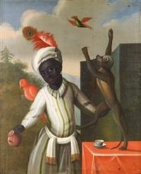 allegori med morian, markatta samt papegojor by albert van der eeckhout