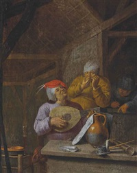 peasants in an interior music making and smoking by jan jansz buesem