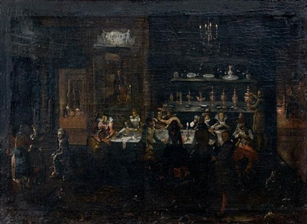 scène de banquet nocturne by louis de caullery