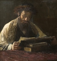 rabbi studying by lazar krestin