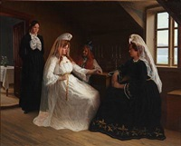interior from iceland with a bride and other women by aage sofus exner