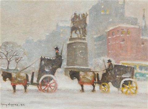 winters day at the plaza by guy carleton wiggins