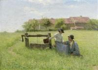 les amoureux pres du puits by jean ferdinand monchablon
