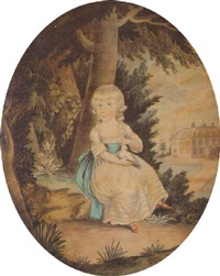 a charming portrait of theresa parker holding a dove in her lap by william wellings