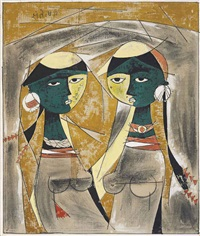 untitled (two girls) by gulam rasool santosh
