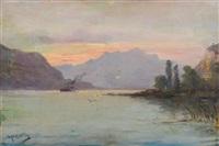 vapeurs traversant le lac by emile godchaux