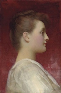 head of a girl in a white dress by lord frederick leighton